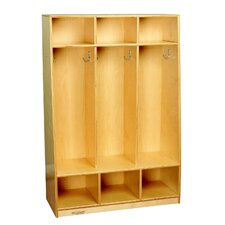 1 Tier 3-Section Bench Coat Locker