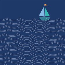 Sailboat and Waves by Ampersand Design Studio Canvas Art