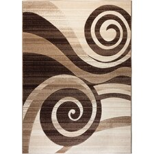 Ruby Whirlwind Brown Area Rug