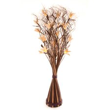White Lily  in Brown and Cream Wave Vase