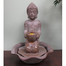 Kneeling Buddha Tabletop Sculptural Fountain