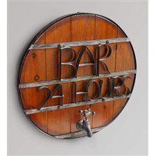 """Round Wood Metal Bound """"Bar 24 Hours"""" Wall Sign"""