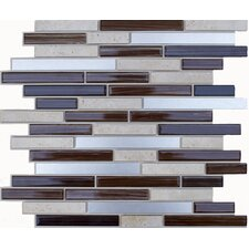 Random Sized Glass, Natural Stone, Metal Peel and Stick Mosaic Tile in Brown Glass & Silver
