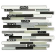 Random Sized Peel & Stick Mosaic Tile in Gray, White & Silver