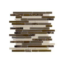 Upscale Designs Random Sized Porcelain, Natural Stone, Metal, Glass, Ceramic Mosaic Tile in Taupe and Dark Brown