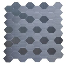 """12"""" x 12"""" Stainless Steel Peel and Stick Metal Look Tile in Gray"""