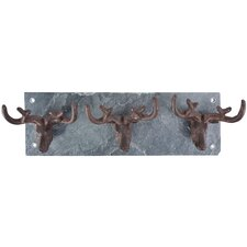 Stag Antler Wall Mounted Coat Rack on Slate