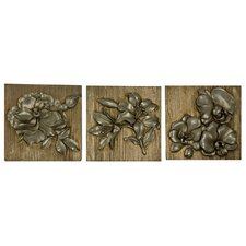 3 Piece Embossed Flower Wall Décor Set