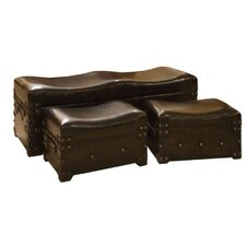 3 Piece Upholstered Storage Bedroom Bench Set