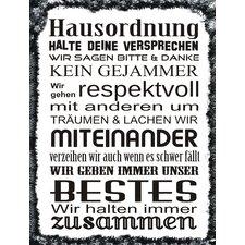 "Schild ""Hausordnung"", Typographische Kunst"
