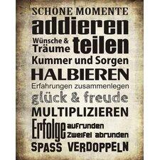 """Schild """"Schöne Momente"""", Typographische Kunst"""
