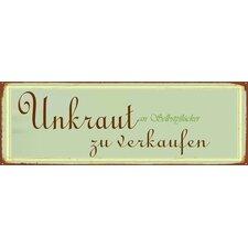 """Schild """"Unkraut zu verkaufen"""", Typographische Kunst"""