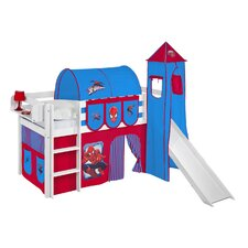 Jelle Spider-Man High Sleeper Bunk Bed with Curtain, Tower and Slide