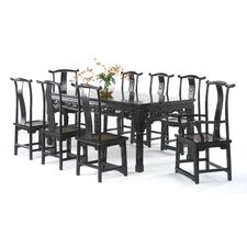 Chinese Classical Extendable Dining Table and 8 Chairs
