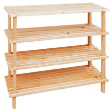 Natural 4 Tier Shoe Rack