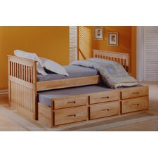 Single Captain's Bed with Trundle and Storage
