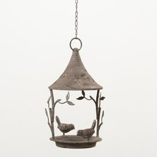 Hanging Bird Feeder in Antique Metal