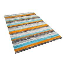 Lederteppich Glenn  in Grau/ Blau/ Orange