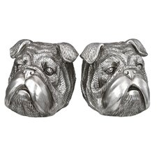 Bull Dog Bookend in Silver (Set of 2)