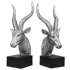 Antelope Bookend in Silver & Black (Set of 2)