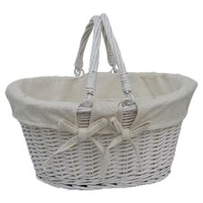 Willow Folding Handle Shopper Basket in White