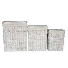 Willow 3 Piece Rectangular Laundry Basket in White Set