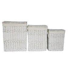 Willow 3 Piece Rectangular Laundry Basket in White Set
