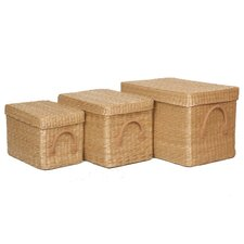 Soft Rush 3 Piece Basket Set with Lids
