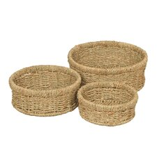 Seagrass Wicker 3 Piece Basket Set