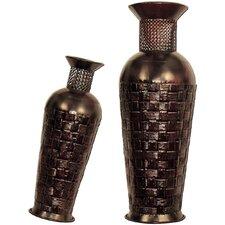 2 Piece Wicker-Look Floor Vase Set