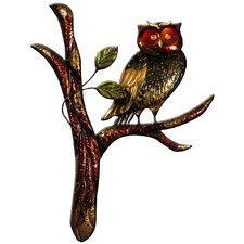 Schild Owl on Branch, Originalgemälde