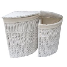 Willow 2 Piece Corner Laundry Basket Set in White