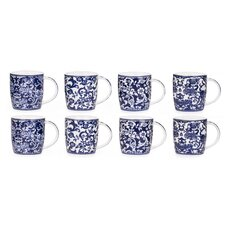 8 Piece 0.38L Porcelain Twilight Mug Set in Blue