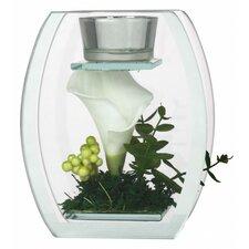2-tlg. Teelichthalter Set Flower aus Glas