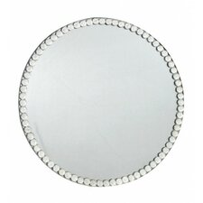 Diamante Trim Glass Mirror Candle Plate