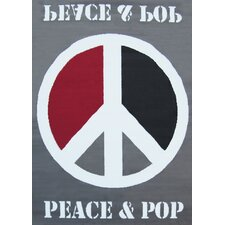 Teppich Peace & Pop in Grau