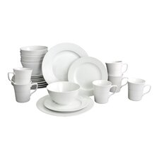 Roulette Embossed 24 Piece Porcelain Dinnerware Set