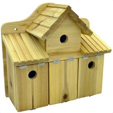 Triple Solid Wood Wall Mountable Bird House
