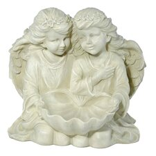 2 Angels with Bird Bath Decorative Figure