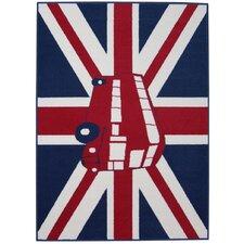 Teppich British in Schwarz/Rot