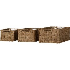 Seagrass Rattan 3 Piece Storage Basket Set