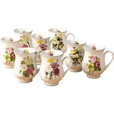 8 Piece 0.33L Porcelain Mug Set in Spring Posy