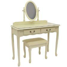 Solid Wood Dressing Table Set with Mirror