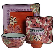 Hearts and Flowers 4 Piece Square Place Setting