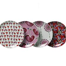 "Love 4 Piece 7"" Porcelain Dessert Plate Set"