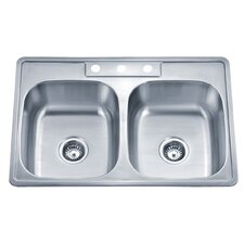 "Speciality Series 33.13"" x 22"" ADA Topmount Double Kitchen Sink"