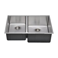 "Chef's Series 30"" x 19"" 45/55 Farm Double Bowl Kitchen Sink"