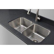 """Craftsmen Series 32.5"""" x 32.13"""" Double Bowl Kitchen Sink"""