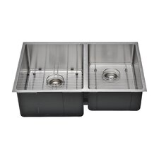 "Chef's Series 30"" x 19"" 55/45 Farm Double Bowl Kitchen Sink"