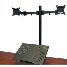 Height Adjustable 2 Screen Desk Mount
